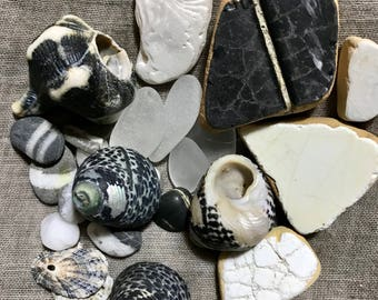 Beach Decor Black White * Ocean Lover Gift Set * Beach Gifts for Coastal Decor Beach Decoration for House or Beach Party Wedding Theme Gift