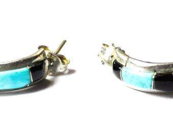 Sterling Silver Nastacio Inlay Half Hoop Multi Stone Pierced Earrings 19mm