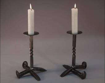 Railroad Spike Candlesticks - Pair