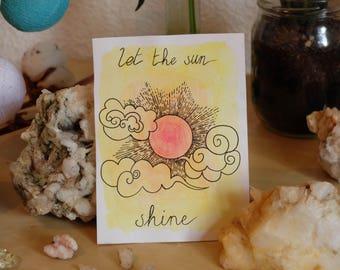 Handmade watercolor card, positive words, sun