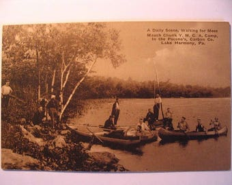 Postcard of: Men on Boats at Mauch Chunck YMCA Camp in Lake Harmony PA