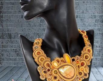 Bumble Bee Jasper Necklace - Soutache Necklace - Elegant Necklace - Wedding Necklace - Unique Necklace -Boho Necklace - Soutache jewelry