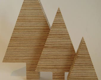 Plywood Christmas Trees - Set of 3, Christmas decoration, Christmas gift