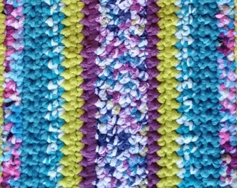 Turquoise Rug Blue Rug Purple Rug Blue Rag Rug Blue Crochet Rug Ultra Violet Rug Crochet Blue Stripes Rug Crochet