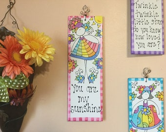 Hand Painted Decorative Tile (You Are My Sunshine) Wall Decor