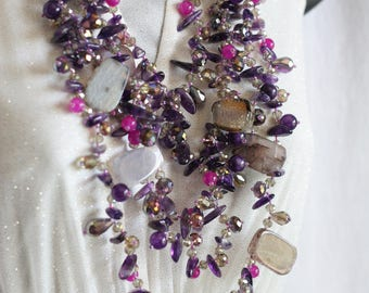 Purple and White Stones Crystal Beaded 5 Strand Necklace with 925 Clasp 25 inches