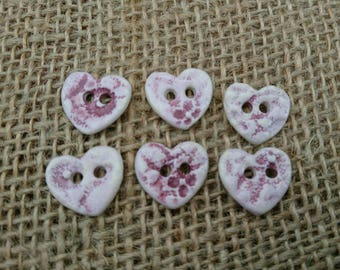 Set of Six Quirky Handmade Ceramic Heart Shaped Buttons/Craft Buttons/Bespoke Buttons/Crochet/Knitting/Sewing/Fashion/Haberdashery.