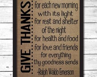 give thanks, ralph waldo emerson wall art, ralph waldo emerson quote, thanksgiving decor, thanksgiving wall art, thanksgiving signs, T1