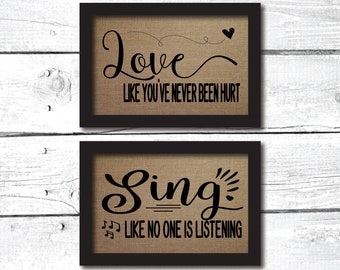inspirational wall art, inspirational gift, burlap prints, dance like no one is watching, mark twain prints, mark twain quote, mark twain