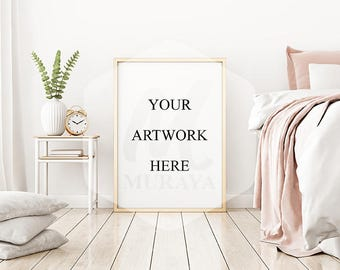 Bedroom frame mockup, portrat frame mock-up, leaning floor frame bedroom, gold frame, contemporary interior, natural lighting.