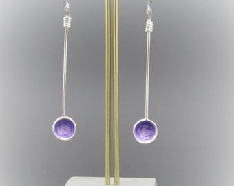 Sterling silver drops with lilac non vitreous enamel