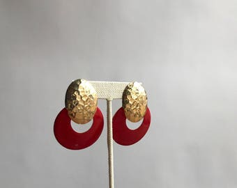 Vintage 80's Red and Gold Tone Earrings