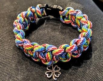Rainbow four leaf clover good luck paracord survival bracelet