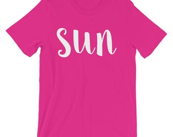 Sun Women/Unisex T-Shirt, Graphic Tee, Fun, Cute, Girly, Shirts With Sayings, Everyday, Day Of The Week, Graphic Tee, Comfortable, Soft