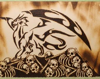 Wood Burned Dragon on Skull Horde