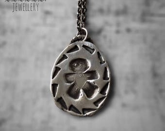 Silver Voodoo Doll Necklace / Voodoo Doll Pendant / Witchcraft Necklace / Gothic Necklace
