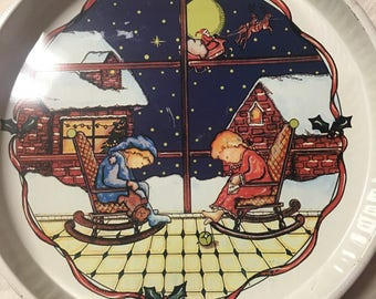 Vintage 1980s Serving Tray - Christmas Tray - Kitschmas - Christmas Tray