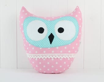 Owl Pillow-Pink and Blue-Home Decor-Cushion Owl