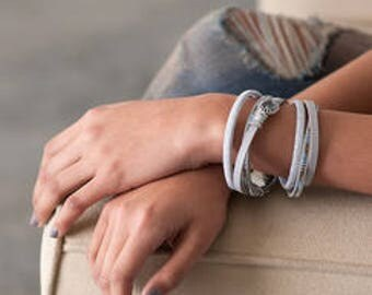 Silver Leather Wrap