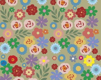 Gift wrapping paper with stylized flowers