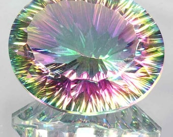 49.64Cts Natural Rainbow Huge Fire Mystic Topaz Oval Concave Cut Loose Gemstone
