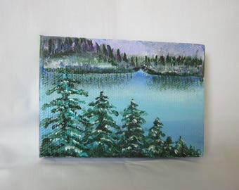 """Icy Lake, ORIGINAL Miniature (3.5 x 2.5"""") painting, acrylic on canvas, Easel Included, Snow, , desk art, landscape, pine trees, forest,"""