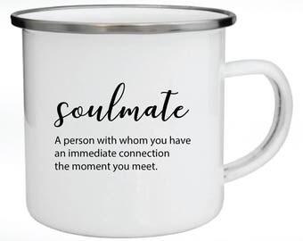 Enamel Mug, Metal Mug, Valentine's Day Gift, Gift for Couples, Soulmate