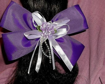 "Boutique Bow, Stacked Boutique, Ponytail Bow, Fancy hair bow, Shades of Purple, Wrap a round Bow, Flower, Girl Hair bow, Large Bow, 7"" Bow"