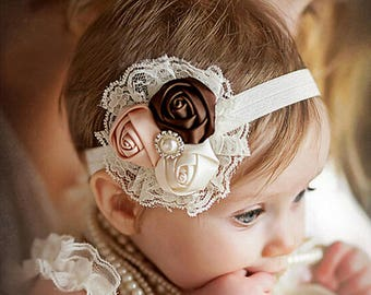 Baby Headband, Newborn Headband, Infant Headband, Flower Headband, Baby Shower Gift, Elastic Headband, Girls Headband, Shabby Chic Headband