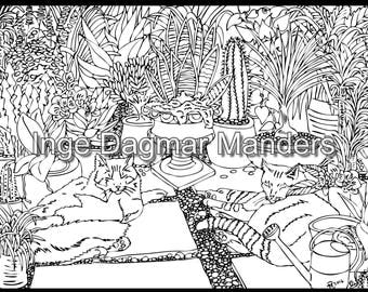Cats in the green house, an adult colouring page