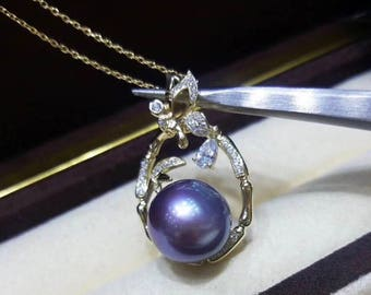 12-13mm Genuine Edison Pearl with Cubic Zirconia in 925 Sterling Silver Gold Necklace, Rare Purple Baroque Pearl Pendant Bridal Necklace