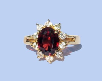 SANA 925silver Gold-plated-garnet surrounded by zirconia
