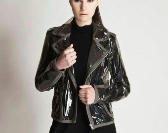 Military drab Transparent PVC Biker Jacket with Gray Trim, Clear jacket, Gift for her, Free Shipping!