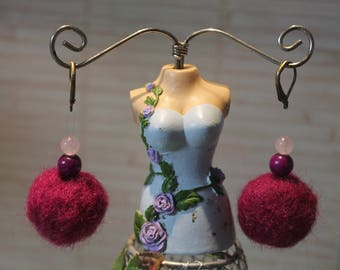 Carded wool/wood/rose quartz Stud Earrings