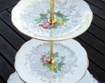 Mad Hatter tea party cake stand - vintage English china 2 or 3 tier gold colored handle