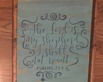 The Lord is My Sheperd wood sign