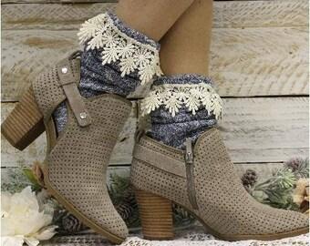 Boot socks, BLUE DENIM, scrunchy socks, slouch socks, bootie socks, cute, lace, lacy, slouchy, scrunchy, winter, fall,spring, ladies, women