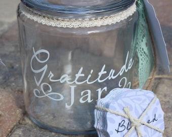 Gratitude Jar - Large Glass Gratitude Jar - Blessings Jar - Memory Keepsake Jar - Count your Blessings Jar