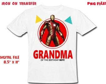 Iron Man - Iron On Transfer - GRANDMA - Iron Man Grandma Birthday Shirt Design - DIY Shirt - Digital Files - Instant Download