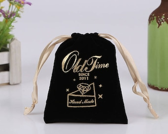 50 personalized logo print drawstring bags custom jewelry packaging bags pouches chic wedding favor bags  flannel cosmetic bags