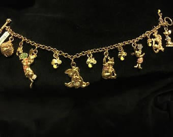 Vintage Charm Bracelet Winnie the Pooh Goldplated with Charms