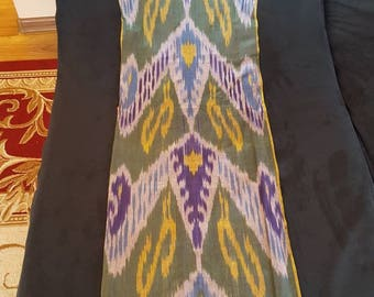 Uzbek handwoven cotton ikat scarf