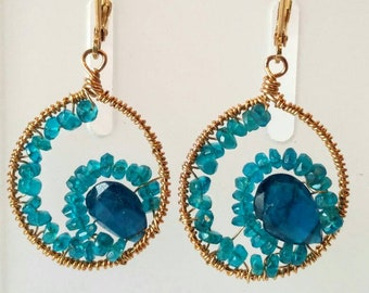 Apatite wire wrapped earrings