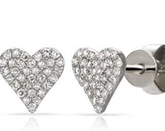 Heart LOVE  Shaped Crawlers Small Diamond Stud Earrings 14k Gold - 0.20 Ct.