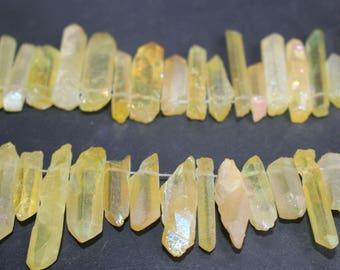 5-9x10-30mm Titanium Coated Mystic Top Drilled Crystal Quartz Points Beads ,Rainbow Quartz Points,Full strand