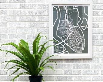 Charleston, SC map 18x24 laser-cut print, white on moss gray