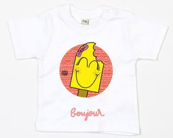"Baby T-shirt white ""shoe girl"" (organic Cotton)"