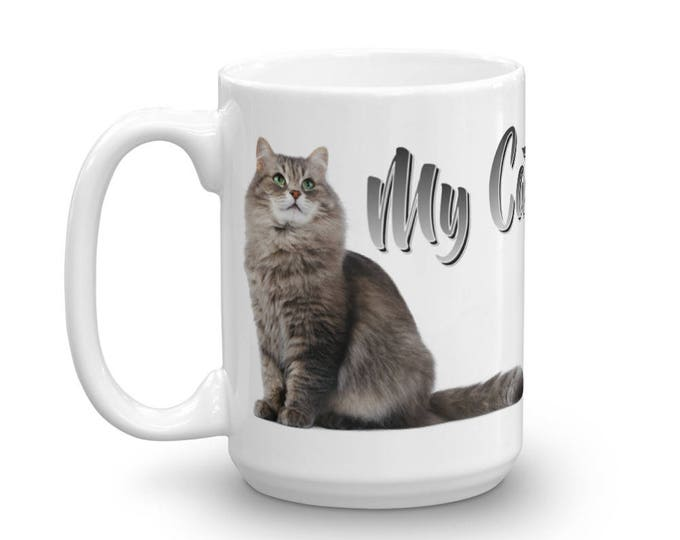 Funny Mugs, Cat Mug, Gray Cat Mug, Kitten Mug, Cat Lover Mug, Kitty Mug, Animal Mug, Cat Owner Mug, Unique Mug, I Love Cats, Cat, Gift Ideas