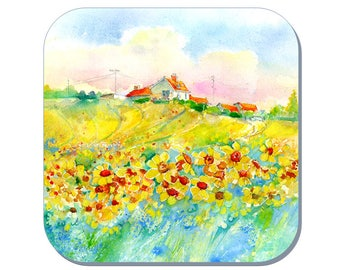 Sunflowers - Flower Coasters (Corked Back). From an original Sheila Gill Watercolour Painting