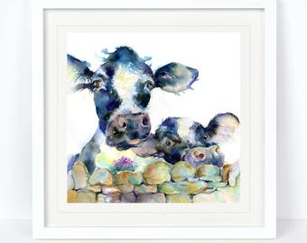 A Moo or Two  - Cow Print, Farmyard Print. from an Original Sheila Gill Watercolour. Fine Art, Giclee Print, Hand Painted,Home Decor